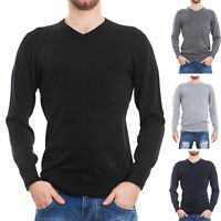 Maglione uomo pullover pull basic scollo V maniche lunghe casual nuovo XN1502