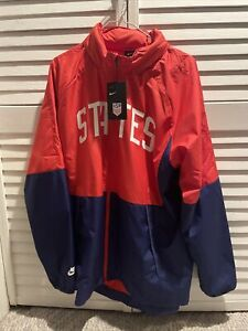 Nike Men's USA Water-Repellent Soccer Full Zip Hooded Jacket CN7075-688 Size XL