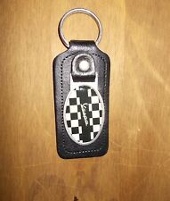 LEATHER BLACK AND WHITE CHECK VESPA SCOOTER KEYRING High Quality