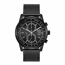 Citizen Eco-Drive Men's CA0338-57E Chronograph Black Mesh Band 42mm Watch