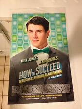 NICK JONAS HOW TO SUCCEED IN BUSINESS Window Card Poster Broadway MINT