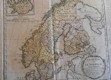 Carte de SUEDE , NORVEGE , ISLANDE par Desnos en 1766