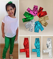 Fashion Solid Kids Baby Girl Metallic Shiny Skinny Pants Leggings Trousers 1-9T