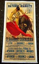 RARE LITHO AFFICHE DE CORRIDA < PLAZA DE TOROS BAYONNE-BIARRITZ < SAISON  1956