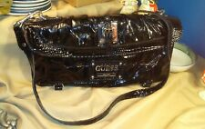 Guess by Marciano Black Patent Leather Faux Reptile Print Shoulder Bag Purse