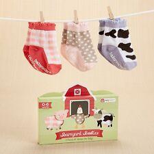 Barnyard Booties 3-Piece Farm Fun Socks Gift Set (0-6 Months) Baby Shower Gift
