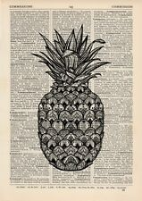 Mandala ananas Dictionnaire Illustration Art Print Vintage Alternative