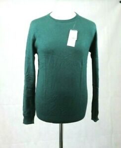 Woolovers Cashmere & Merino Crew Neck Jumper Bottle Green Size S CR009 CC 03