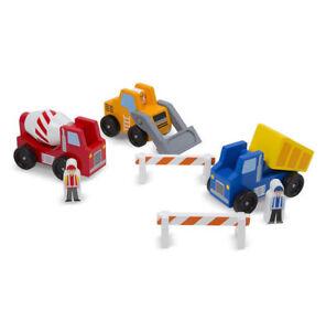 Melissa & Doug Classic Wooden Toy Construction Vehicle Set Children Car Truck