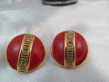 Vintage GOLD & RED ENAMEL with RHINESTONES ROUND STATEMENT EARRINGS, Lovely