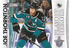 10/11 SCORE PLAYOFF HEROES STANLEY CUP #8 JOE THORNTON SHARKS *9013