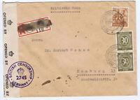 Gemeinsch.Ausg. Mi. 928, 951, Not-R-Schneeberg/Erzgeb., 1.11.47, brit. Zensur