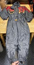 DESCENTE One Piece Men's SKI SUIT Snowsuit Vintage Charcoal Black Grey Red XL