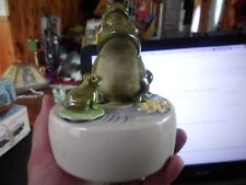 Otagiri Porcelain Music Box, Three Frogs, Rotates, 1980, Excellent Condition