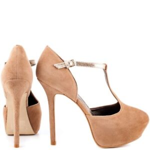 REPORT SIGNATURE RYERSON T STRAP HIGH DRESS PUMPS NUDE SUEDE GOLD ANKLE STRAP