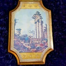 VTG Italian FLORENTINE Gilt WOOD Tole Plaque PANINI'S ROMAN RUINS Print -ITALY