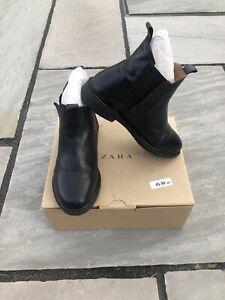 Zara Kids Girls Black Leather Ankle Boots size UK13 EU 31 19,6 cm