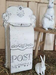Briefkasten Metall Weiß Shabby Vintage Landhaus Nostalgie Deko Nr. 1