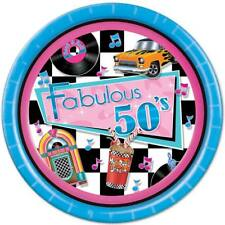 Fabulous 50's 9 Inch Paper Plates 8 Pack Jukebox Pink Turquoise Sock Hop Diner