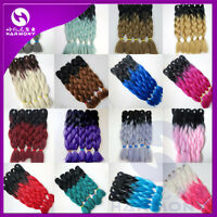 "24"" Ombre Silk Jumbo Braiding Synthetic Hair Extension Twist Braids 100g"