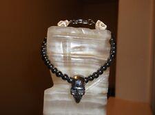 """Men's 8 1/2"""" 6 mm Black hematite and stainless steel skull head bracelet"""