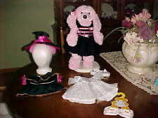 """Lot Build-A-Bear 19"""" French Poodle Dog Plus Extra Clothes 3 Outfits Total"""