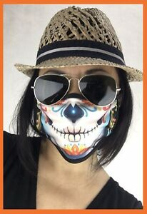 Sugar Skull Catrina Unisex Double Layer Face Mask Reusable Washable Cover Cloth