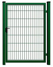 Pforte Gartentor Tor 1 Flügelig Doppelstab 100x180cm Schloß, Klinke grün RAL6005