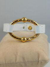 White Leather Bracelet Lnb00127G810 $48 Ralph Lauren Hammered Goldtone Bali