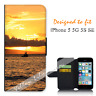 For Apple iPhone 5 5G 5S SE Wallet Flip Phone Case Cover Sunset Boats Y00892