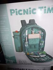 SIERRA BACKPACK PICNIC GREEN  DELUXE SERVICE FOR 2  NEW OPENED BOX