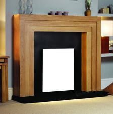 Electric Oak Wood Surround Black Wall Modern Fire Fireplace Set Suite Large 54""