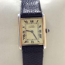 Authentic Must De Cartier Tank Argent Gold Plated Quartz Mens Wrist Watch