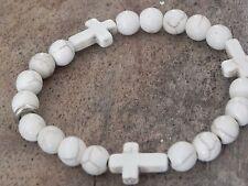 Men's Religious Cross Stretch Bracelet Turquoise or White Howlite 8mm Beads
