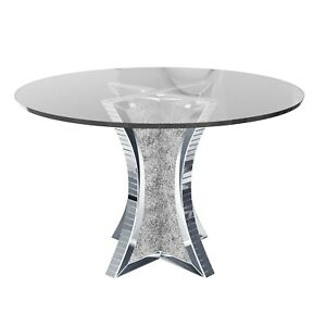 Round Mirrored Dining Table with Glass Top & Crushed Diamond Effect - Seats 4 -