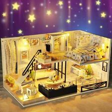 Modern Doll House Miniature DIY Kit Dollhouse with Furniture LED Light Box  ღ