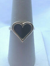 14 K YELLOW GOLD & BLACK AGATE HEART RING SIZE 6.5