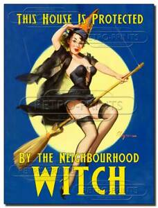 Protected by Neighbourhood Witch Funny Metal Wall Sign, Lady Cave Print Plaque