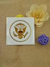 "PRESIDENTIAL-SEAL-3 "" ROUND-GLOSSY WHITE AND GOLD STICKERS- SET OF 3 STICKERS"
