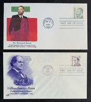 US Scott #2193 2195 Great Americans $1 $2 FDC Unaddressed Fleetwood Artcraft