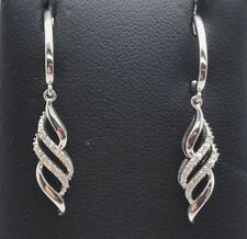 Sterling Silver 925 Diamond Pave Marquise Wave Swirl Drop Dangle Post Earrings