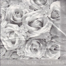 White Roses - Wedding Party - Luncheon Napkins 20-2ply - 13in X 13in - Brand New
