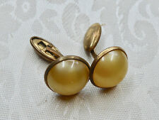 Vintage Yellow and Brass Tone Mens Cufflinks, 16mm Wide, 5.5 grams