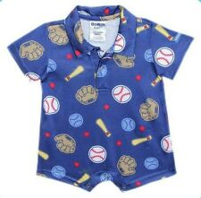 Oshkosh B'gosh Baseball Printed Collared Romper Infant/Baby Boy Clothes, 12 mos