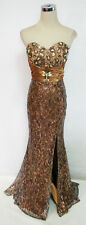 NWT RIVA DESIGNS R9412 Bronze $358 Pageant Prom Evening Gown 4