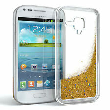 Schutz Hülle f. Samsung Galaxy S3 Mini Liquid Glitzer Cover Handy Case Gold