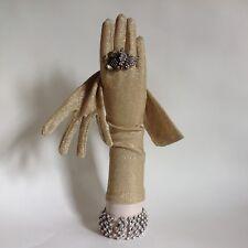1950s Vintage Gold Metallic Lurex Evening Opera Gloves 13 Inch Size 6.5 To 7