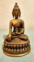Buddha,Messing,sitzender,meditierender Buddha.Höhe 14 cm,Breite (Fuß) 9 cm