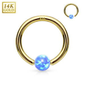 1 - 14Kt. Gold Synthetic Opal Ball Fixed Hoop Rings Nose, Cartilage, Septum C266