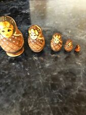 Vintage Russian Nesting Dolls Five Brown Gold Wood Wooden Hand Painted